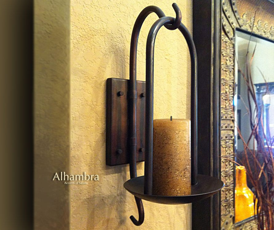 Tuscan Decor Tuscan Alhambra Iron Wall Sconce Candle Holder | For ...