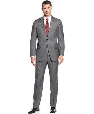 Tommy Hilfiger Grey Sharkskin Suit Trim Fit