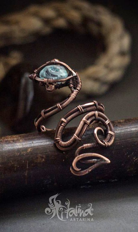 Copper wire wrapped snake ring | Rings | Pinterest | Snake ring ...