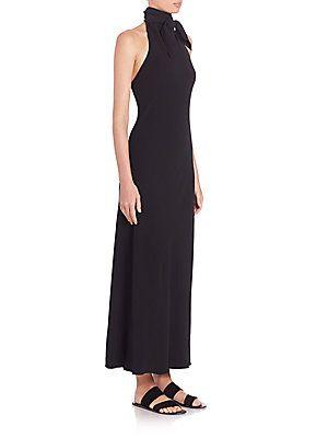 The Row Kaila Jersey Halter Dress - Black