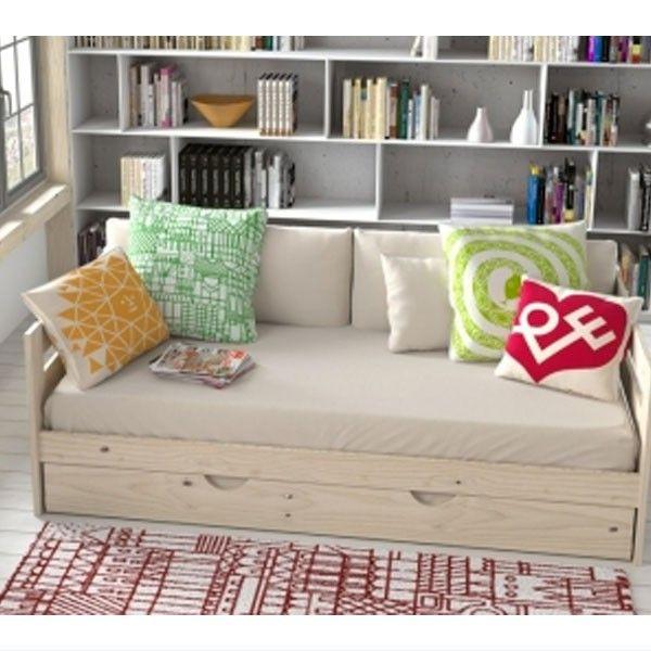 Cama sof madera pulida muebles for Muebles lufe cama nido
