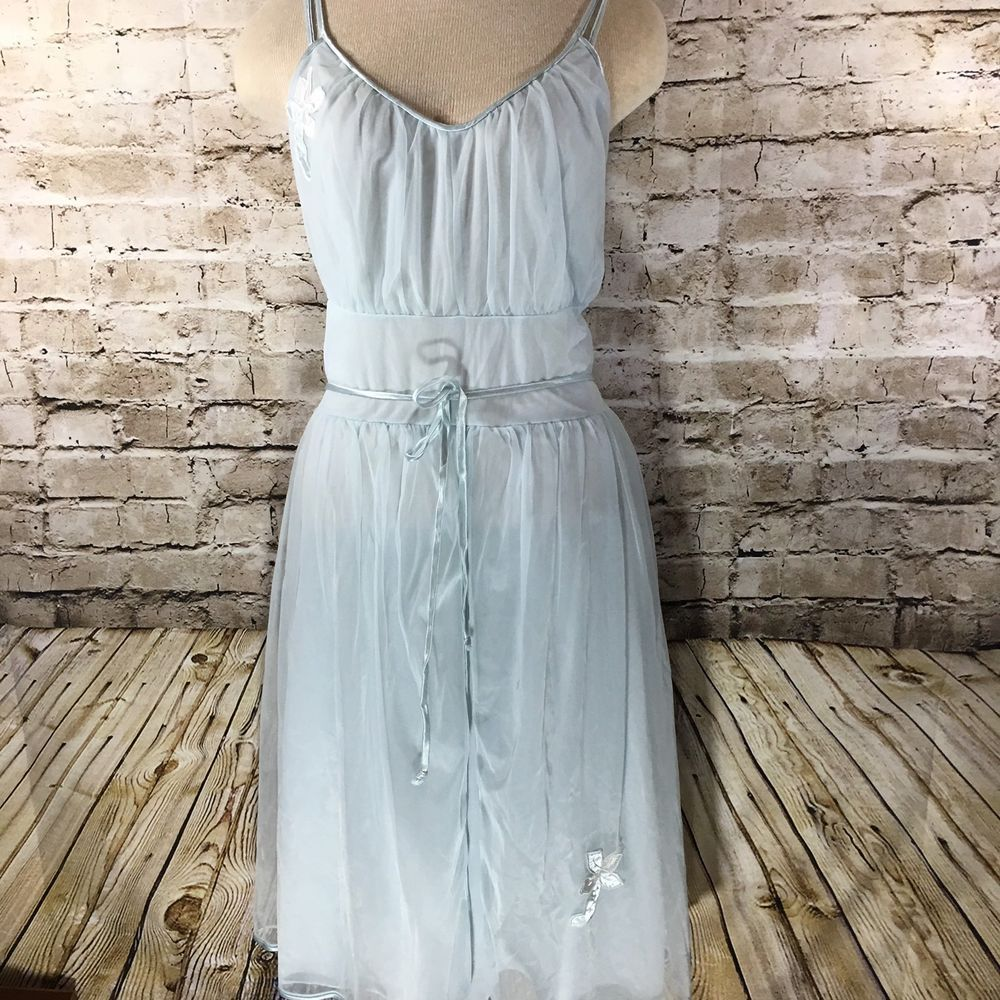 Vintage Rogers Run Proof Nightgown Size 38 Light Blue Sheer Overlay Nylon  Tricot  Rogers 4d9f92c18