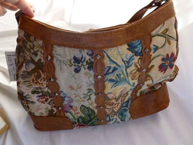 Floral purse (pocketbook) brown, multi-pocket by Easy Spirit