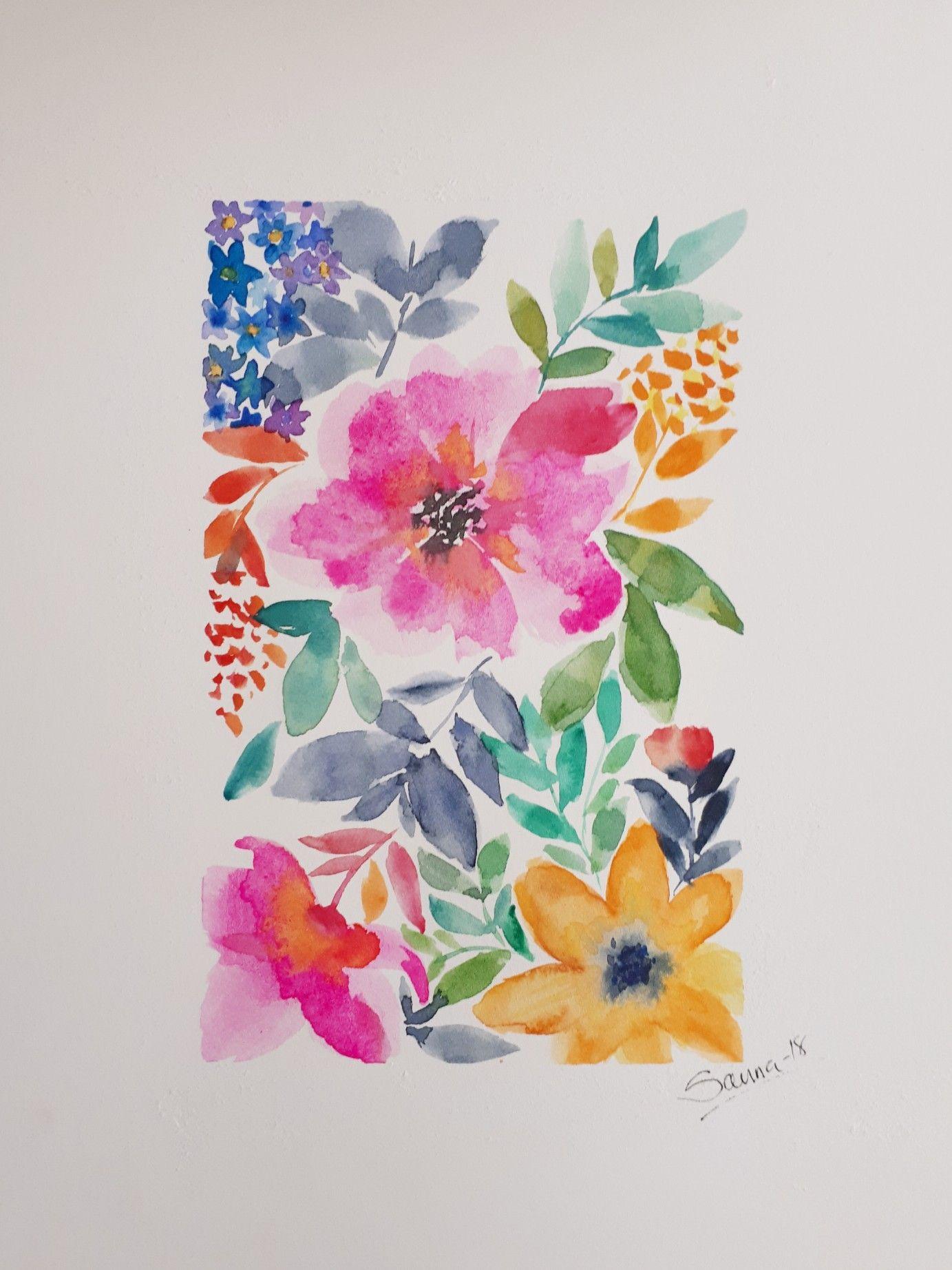 Beautiful Floral Watercolor Watercolor Mural Watercolor Pencil Art