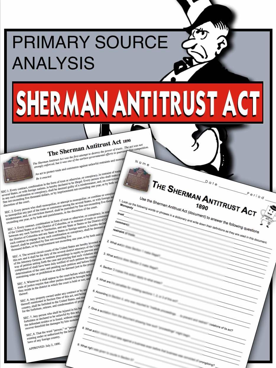 worksheet Primary Source Worksheet sherman antitrust act primary source worksheet documents teaches students about trusts monopolies and the law