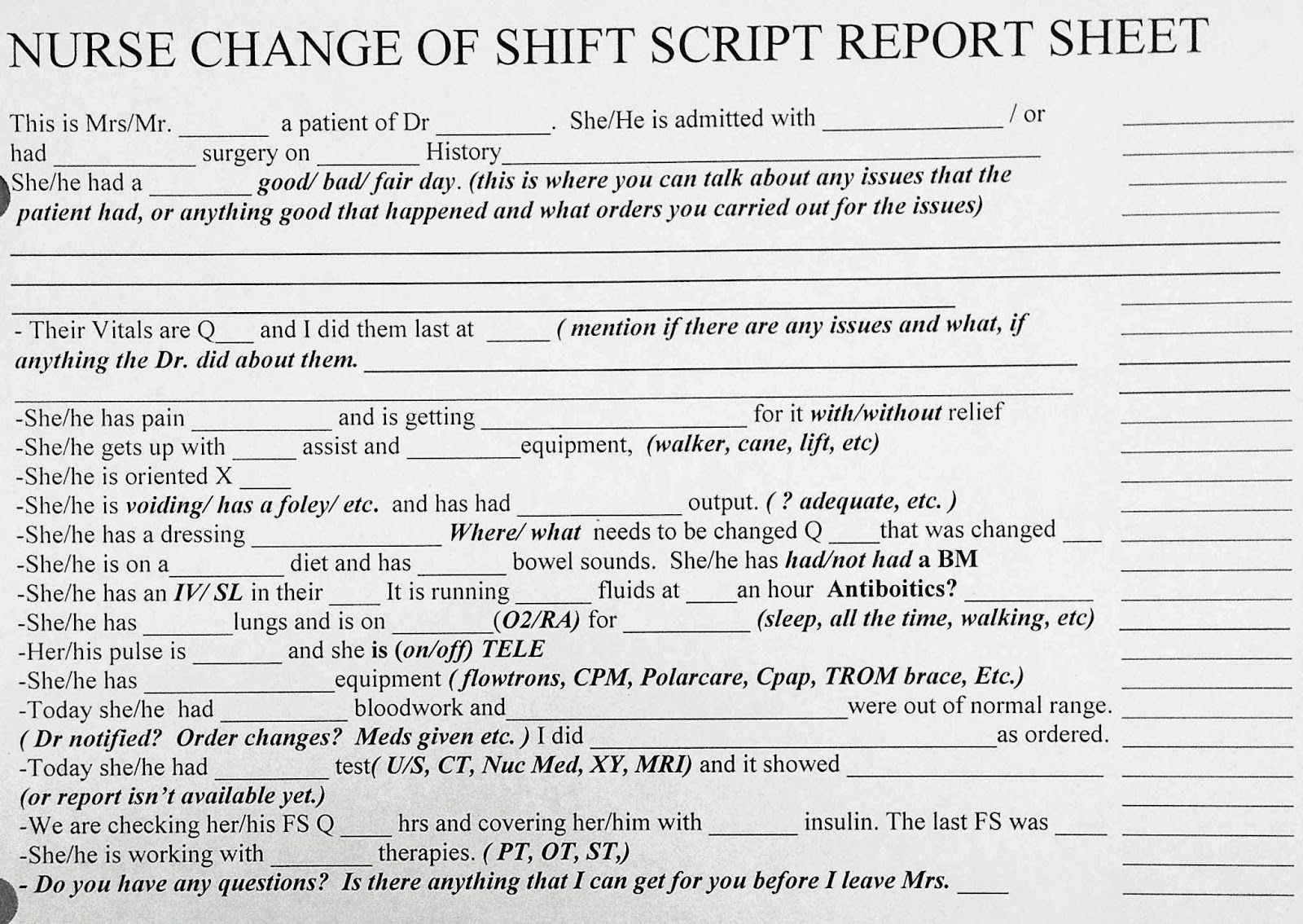 AWESOME New Grad Or Experienced Nurse Change Of Shift Bedside Report Sheet Script