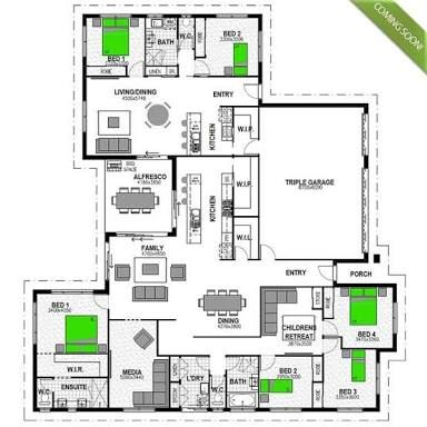 house plan with attached granny flat - Google Search | Floor Plans ...