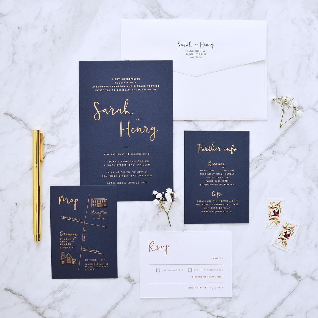 Navy and gold invitation suite | Calligraphy invitation | Navy ...