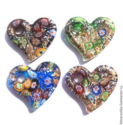 Подвеска кулон стекло сердце для украшений. Handmade. Лэмпворк