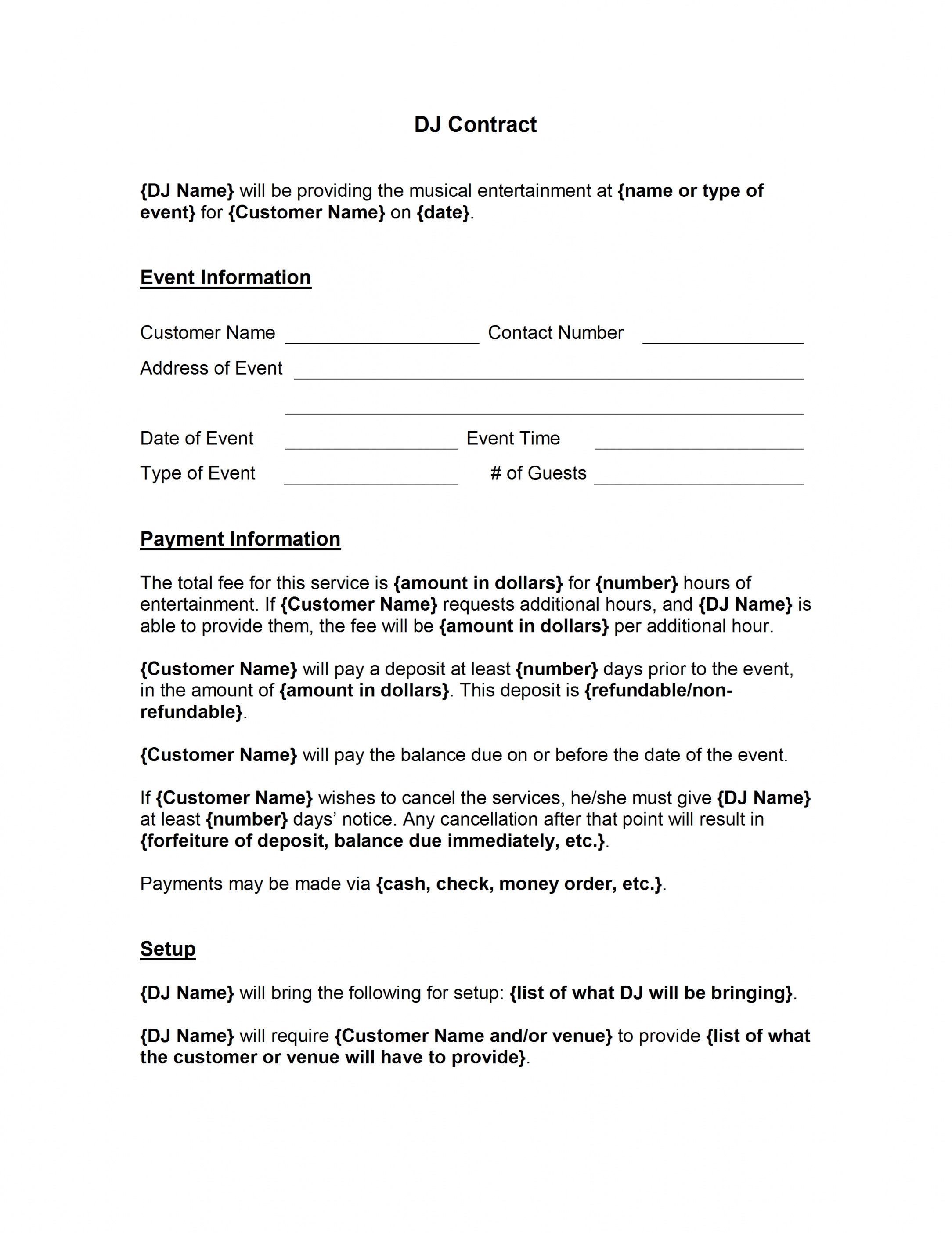 Browse Our Sample Of Contract For Dj Services Template For Free Contract Template Templates Word Template