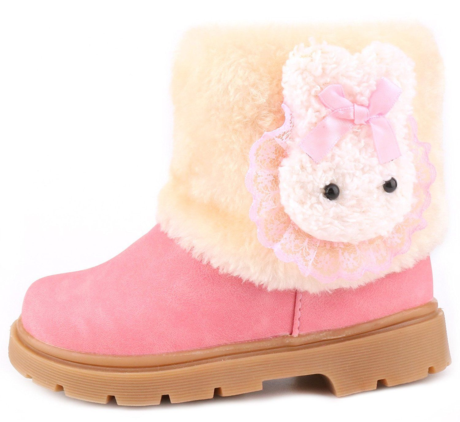 Toddler Little girls light pink Size 10 Rubber  Sole Winter Snow Boots New,wool.