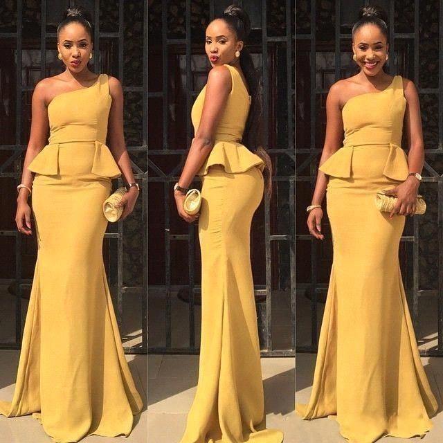 One Shoulder Prom DressMermaid DressYellow DressFashion