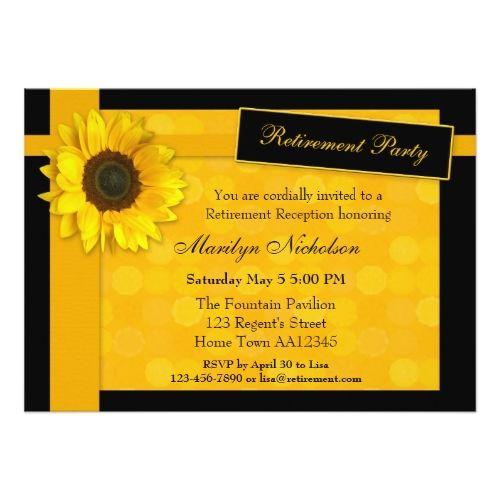 elegant sunflower retirement party invitation retirement party
