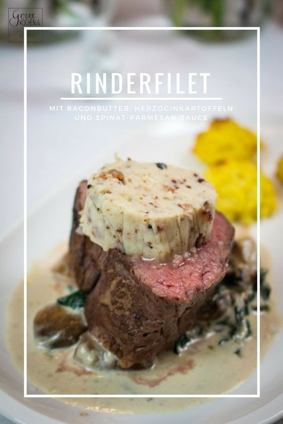 Photo of Recipe: beef fillet with bacon butter, parmesan spinach and duchess potatoes – gernekochen.de