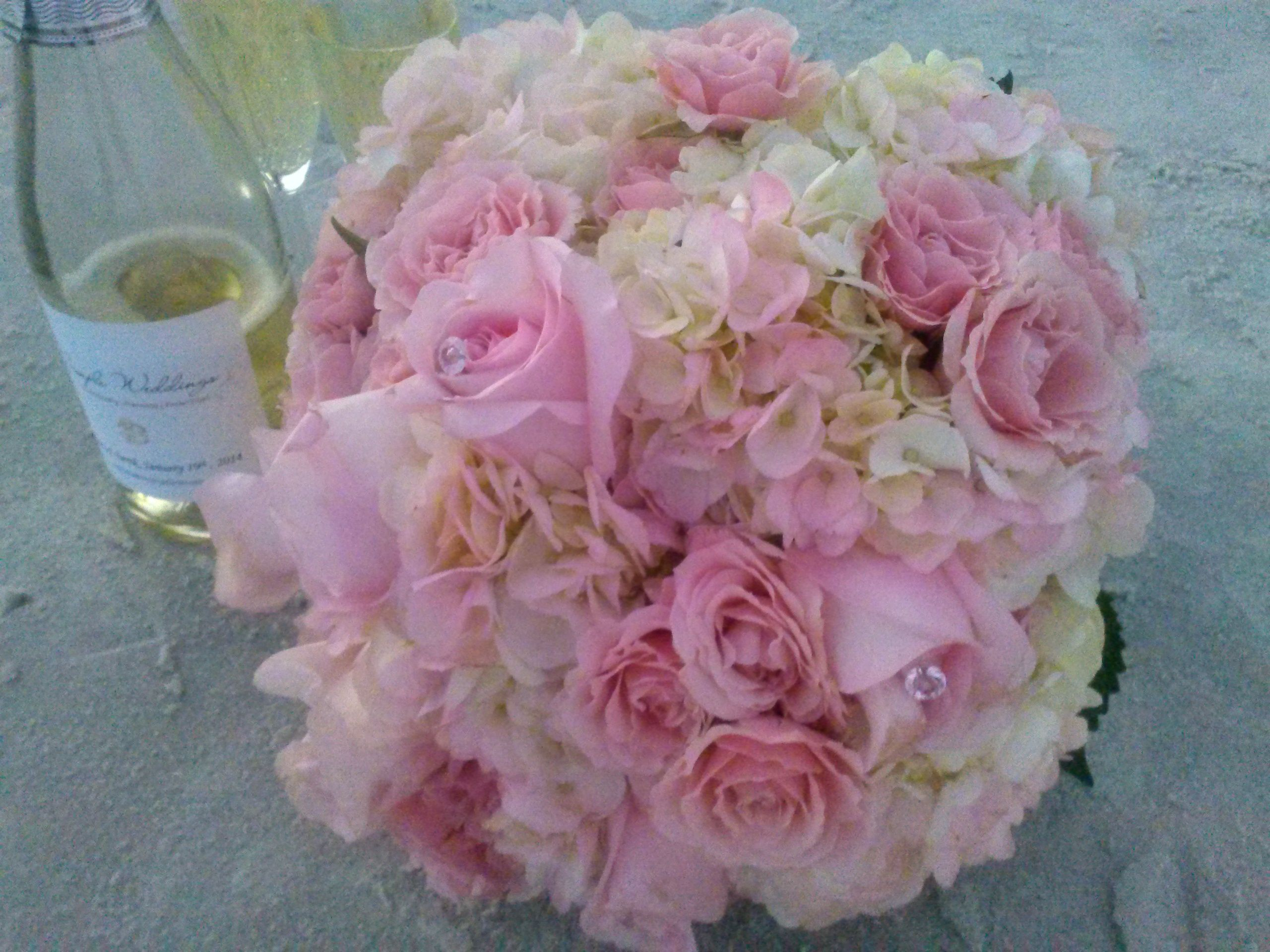 Lt Pink Hydrangea and roses.  Soft and romantic