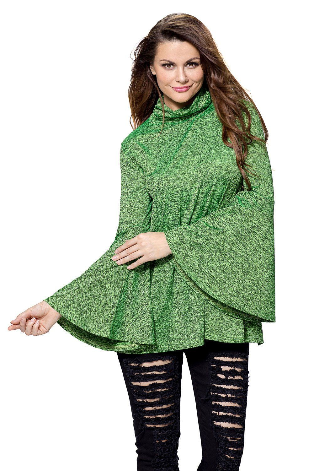 7a85c7eb8037d Chicloth Green Flared Bell Sleeve Knit Blouse