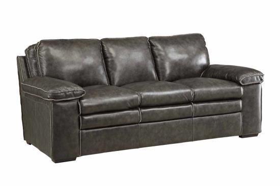 Grey Top Grain Leather Sofa