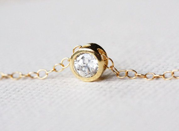 Solitaire Necklace CZ Diamond Necklace Simple by MinimalVS on Etsy