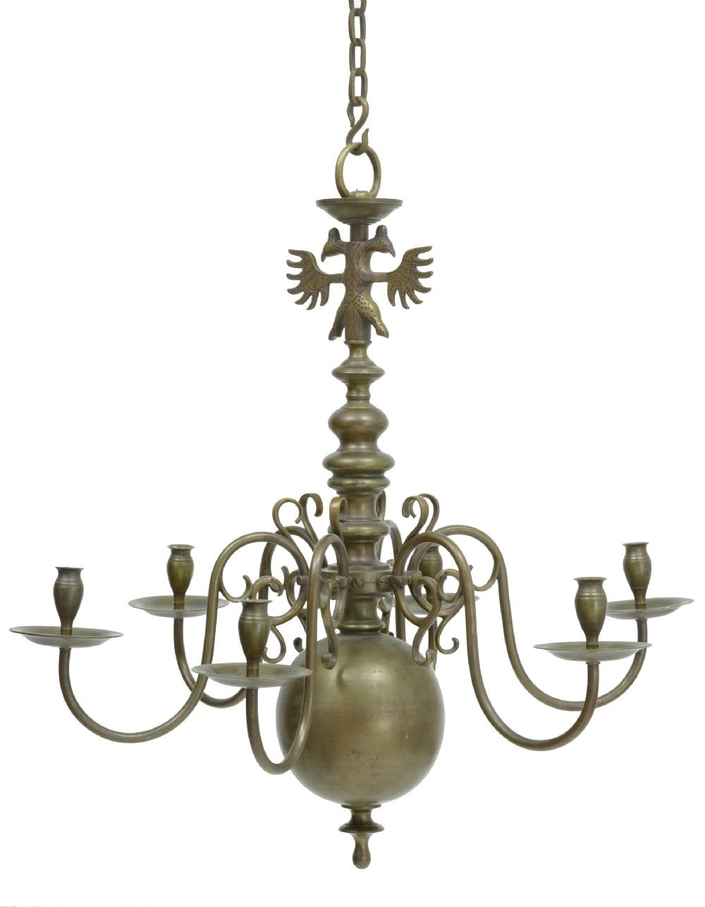 Here We Have A Fine Quality Dutch Brass Chandelier And Unusually Its Solid  Unlike Most Of The Chandeliers From This Period On The Market. - 19TH CENTURY SOLID BRASS DUTCH 6 ARM CHANDELIER £1350