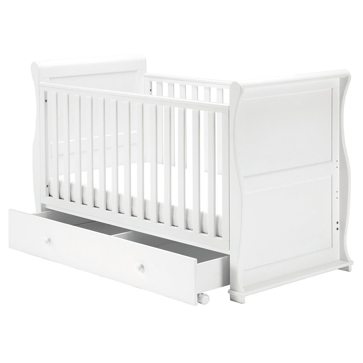 Mothercare Darlington Sleigh Cot Bed White Cot Bedding