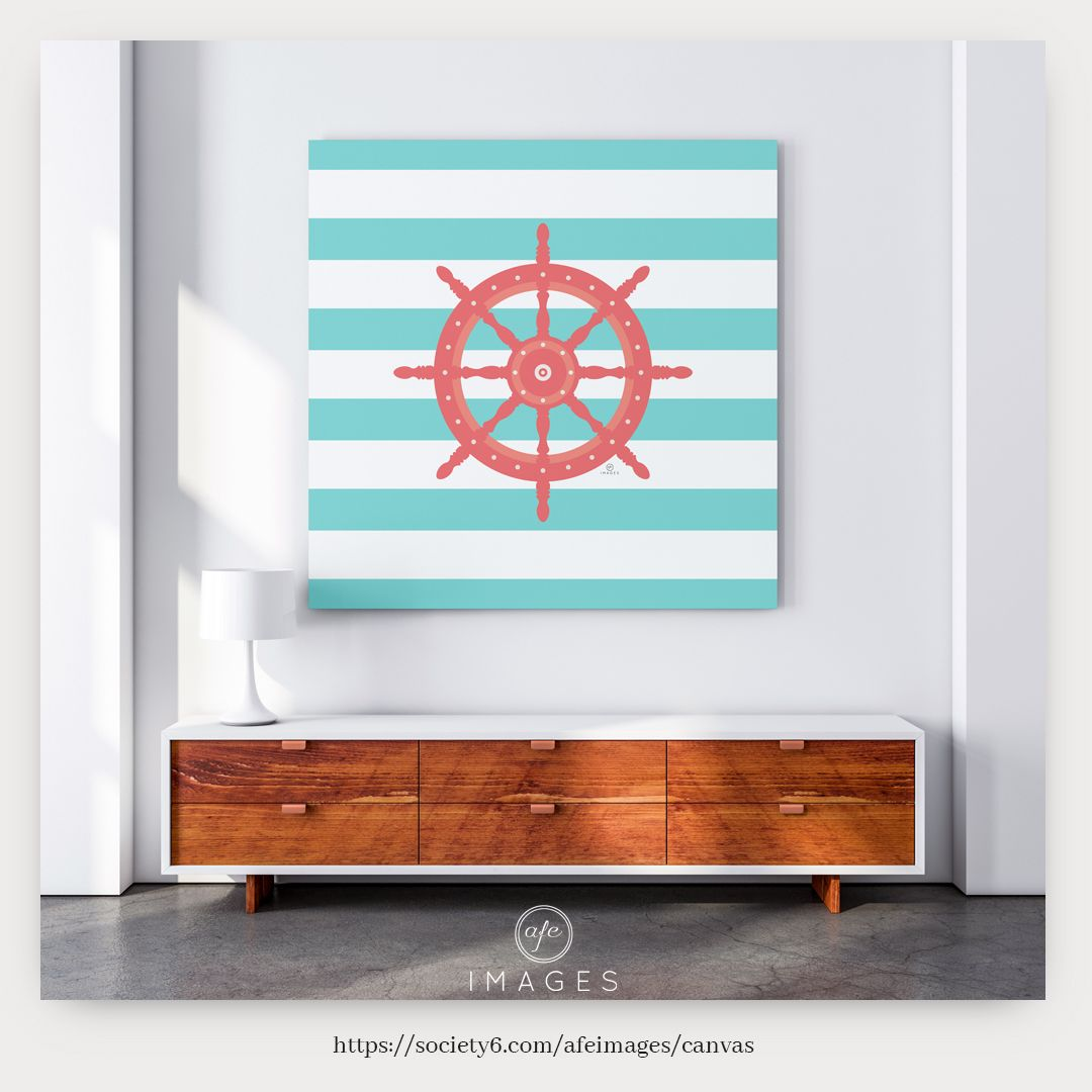 AFE Nautical Wheel Coral & Seafoam Canvas Print by AFE Images (Amalia Ferreira-Espinoza). Frameless and versatile, canvas prints can be hung on your walls or showcased on a flat surface. There's just something about canvas that feels so much more arty. Canvas prints available in three sizes. Small 13
