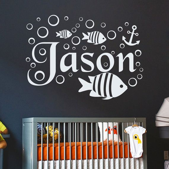 Boy name wall decal nautical fish anchor decals by decalhouse