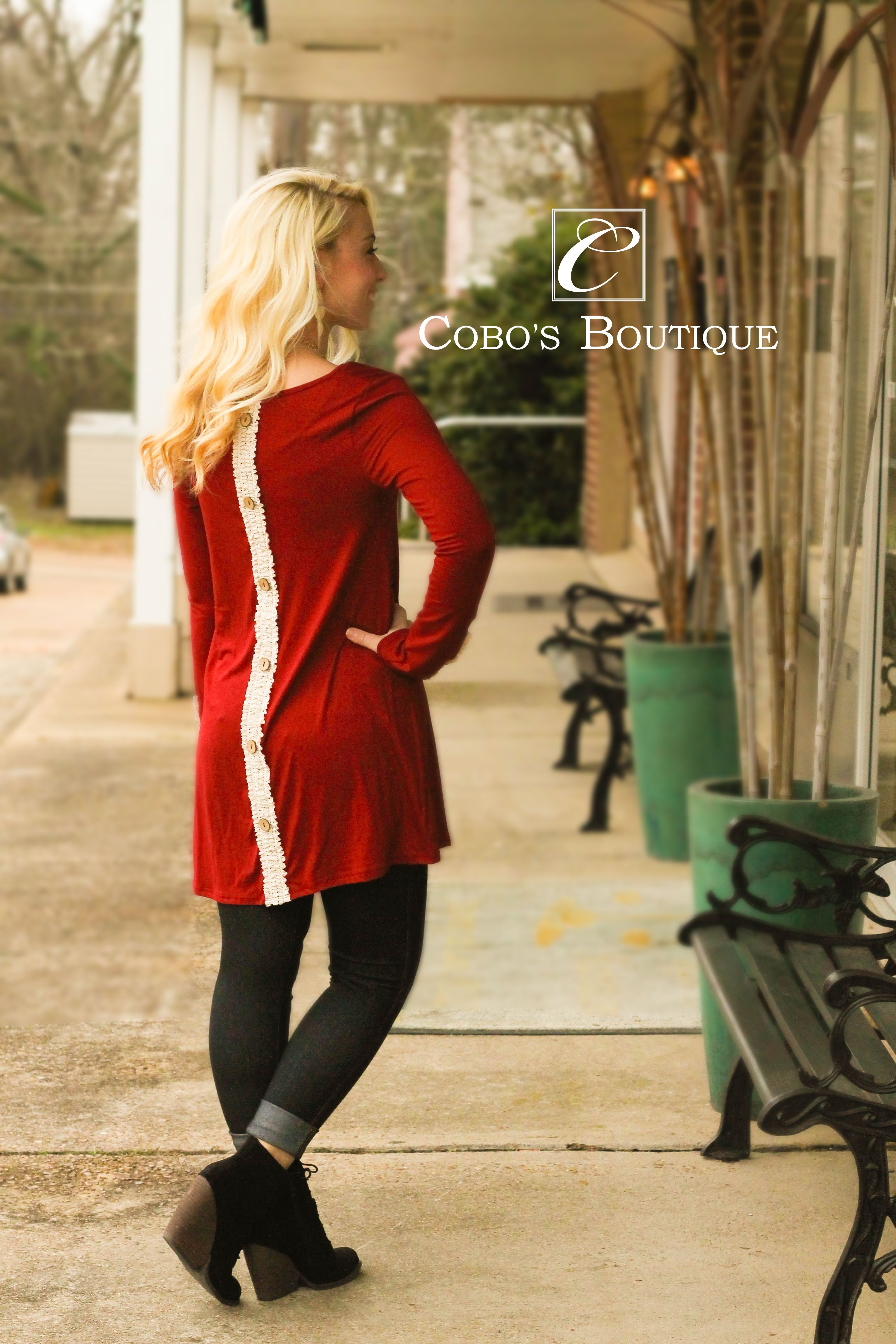 This burgundy top is just so gorgeous!! We love the back button up detail and it looks great with out virtue jewelry! Call 601.591.4111 to order! We are open until 6pm!
