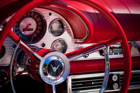 Rojo Ford Thunderbird volante y tablero  Mancave pared Art