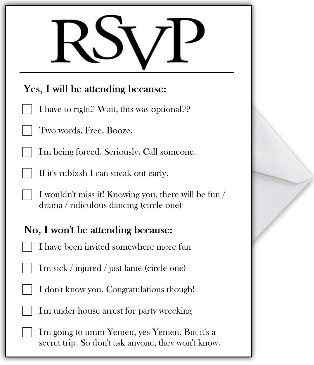 RSVP Card With Hilarious Options Or Add Your Own Funny Reasons