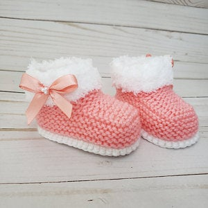 Photo of Instant Download Knitting Pattern Baby Girl Booties/Boots  – Quick and Easy – Makes Three Sizes