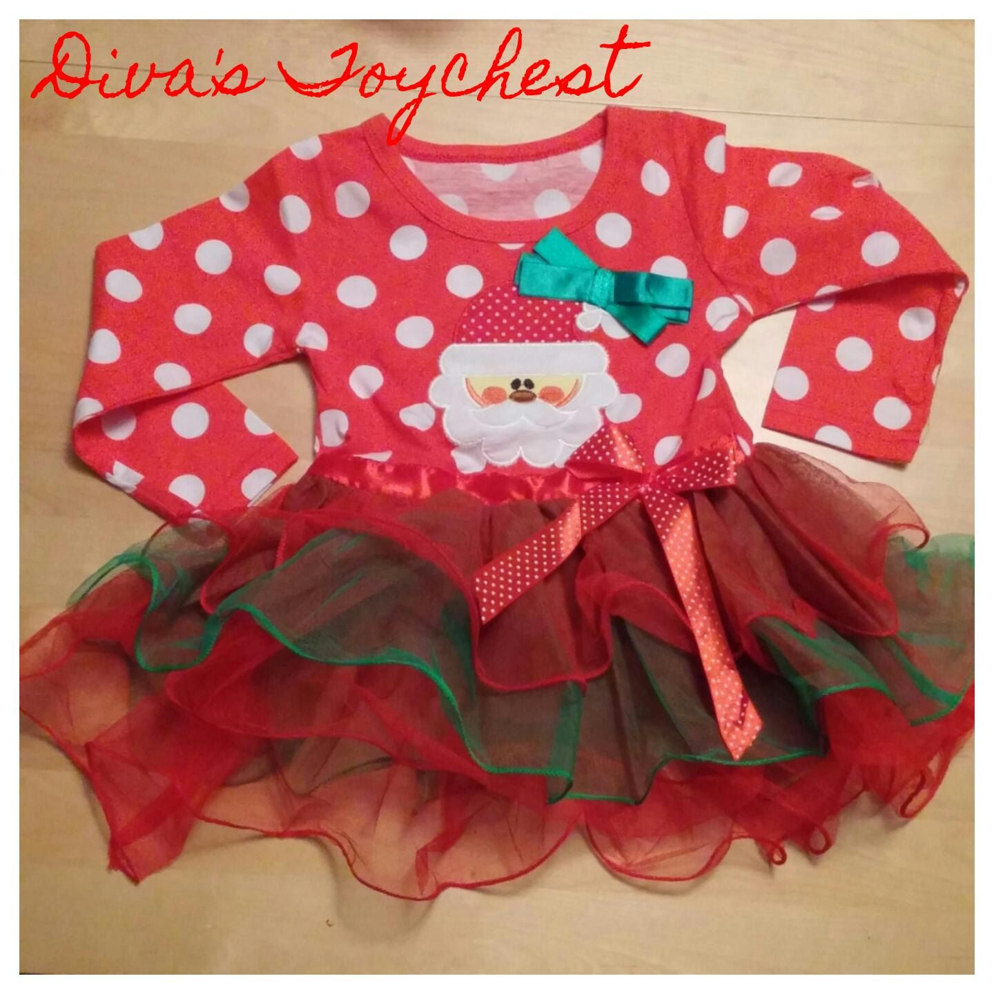 Holiday Toddler Party Dress Santa Claus Dress Baby Holiday Picture