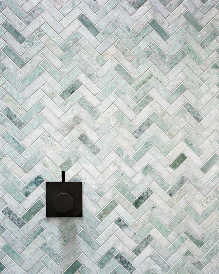 Ming Green Marble Tile Herringbone Pattern Google Search With Images Bathroom Feature Wall Tile Green Marble Bathroom Herringbone Tile Bathroom