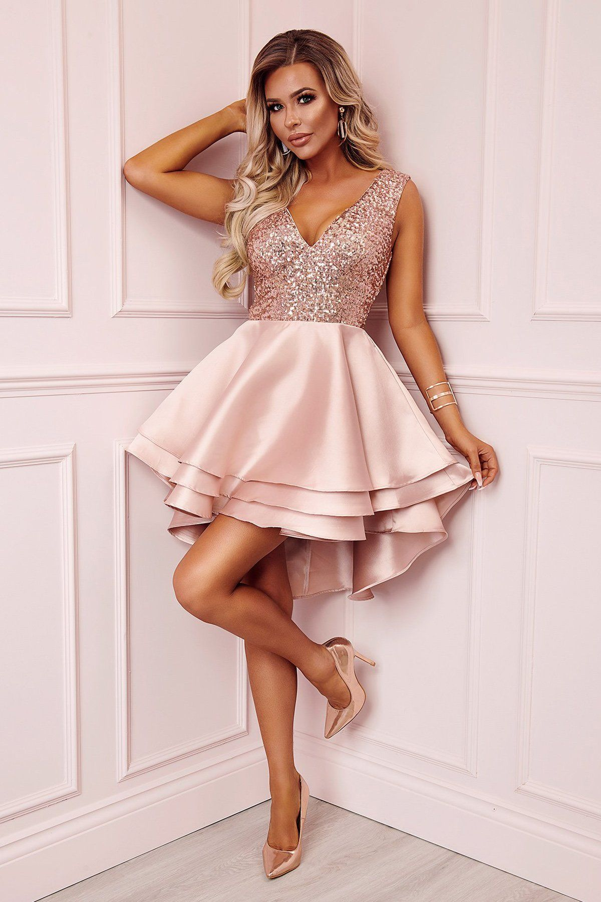 19++ Rose gold party dress info