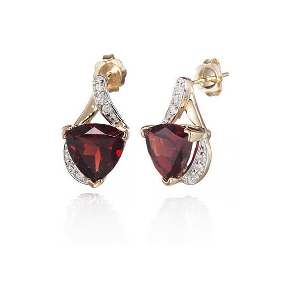 Garnet 14k Yellow Gold And Diamond Earrings 795 Liked