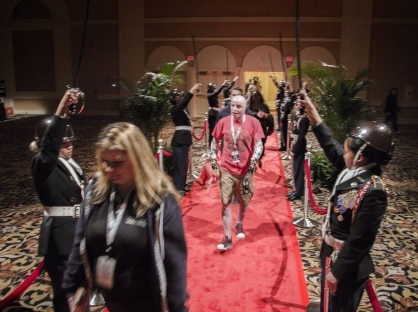 "MGM Resorts International honored more than 70 wounded warriors on Friday. Veterans who suffered disabilities from the wars in Iraq and Afghanistan were center stage as hundreds of employees lined a hallway at The Mirage to salute their arrival for a weekend of ""high roller"" treatment."