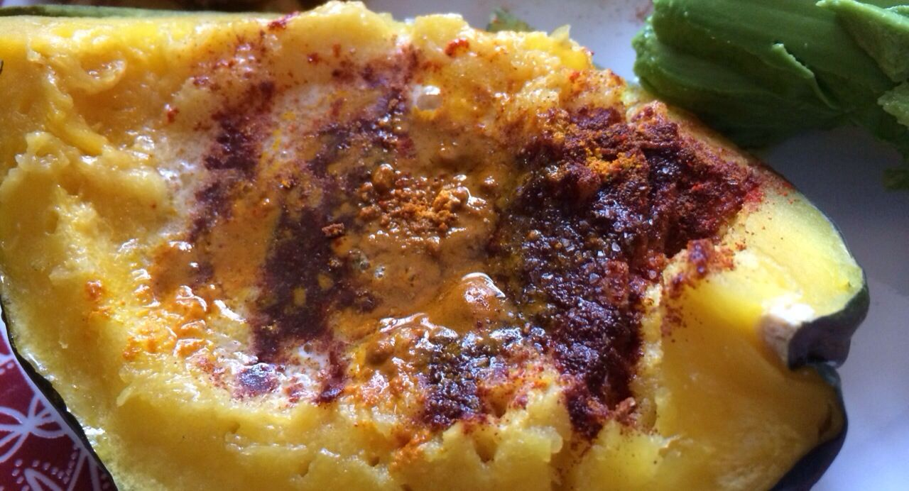 Acorn Squash Squash With Real Butter Cinnamon Turmeric A Dash Of Smoked Paprika And Sea Salt I Cooked The Squash In The Microwav Food Recipes Acorn Squash