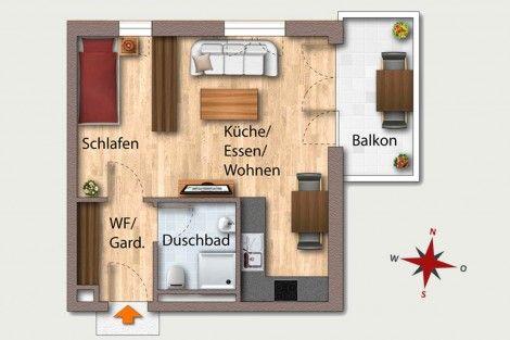 Wohnung 22  OG 4 40,30 m² Aufteilung 1 Zimmer Wohnen - küche zu verkaufen