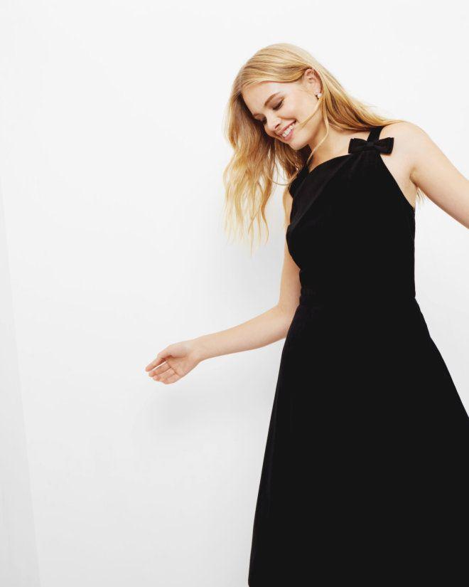 Bow Strap Velvet Skater Dress Black Dresses Ted Baker