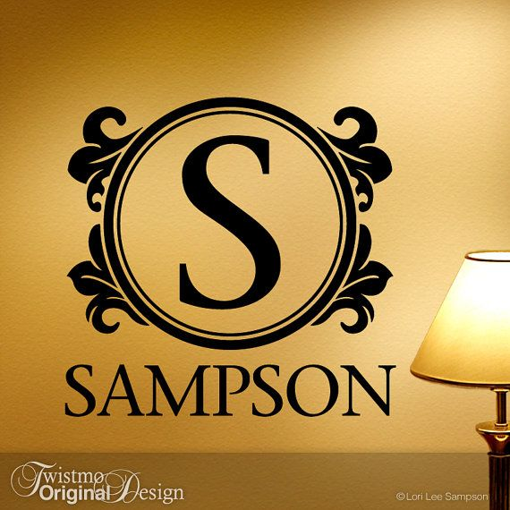Family Monogram Wall Decal, Custom Wall Decal, Monogram Embellished ...