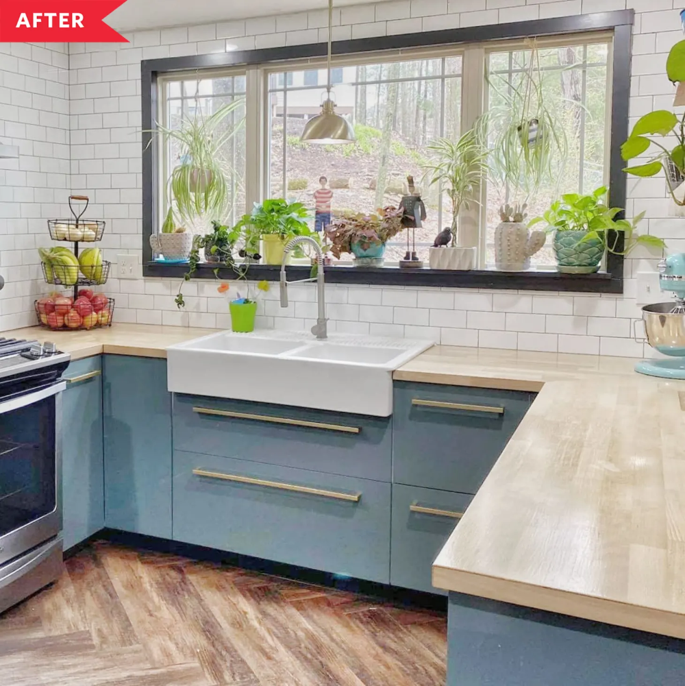 Blue IKEA Cabinet Kitchen Reno   Apartment Therapy