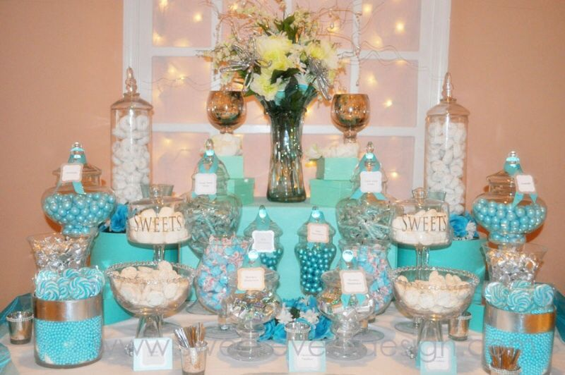 Tiffany blue candy bar wedding food and cake for Candy bar for weddings receptions
