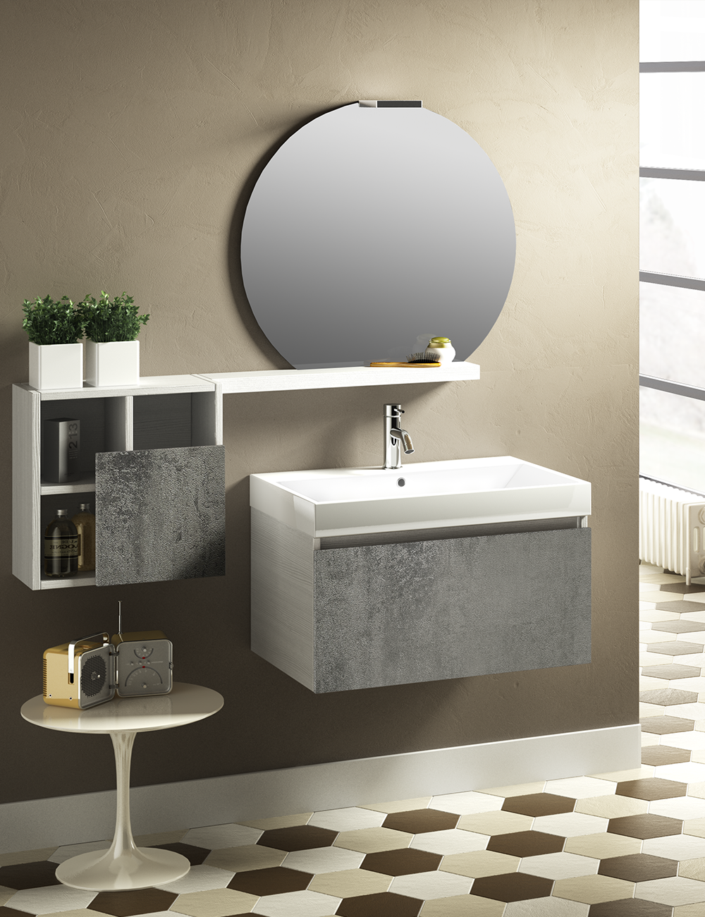 Quadri Per Bagno Moderno mobile bagno qubo 70 cm 1 cassetto bianco/ossido grigio