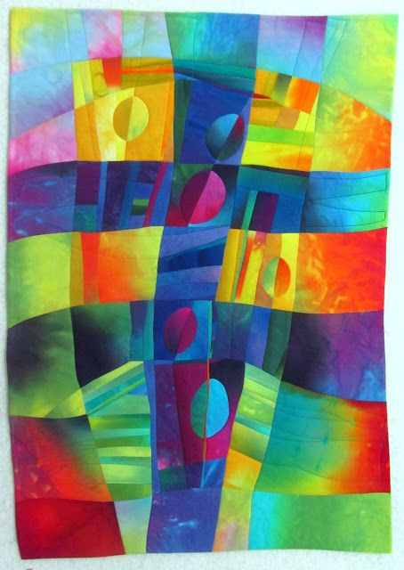 """Fibermania...Split Circles, 25x35"""" hand dyed cottons and silks, fused, machine quilted."""