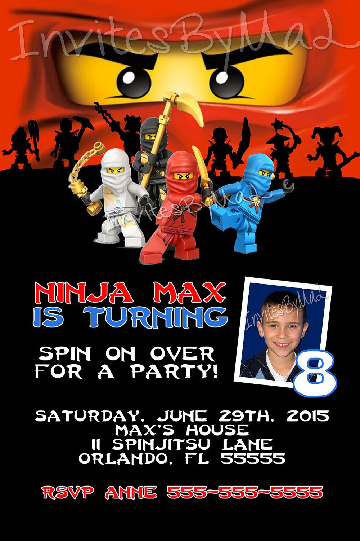 Ninjago Masters of Spinjitsu Birthday Party Invitation (Karate ...