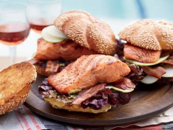 Grilled Glazed-Salmon Sandwiches with Bacon Recipe | http://aol.it/1eGlnyh