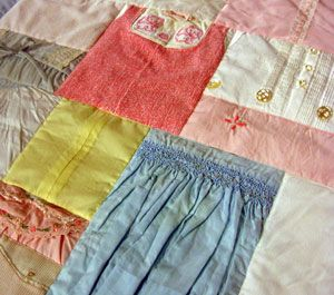 Quilt made from baby clothes.