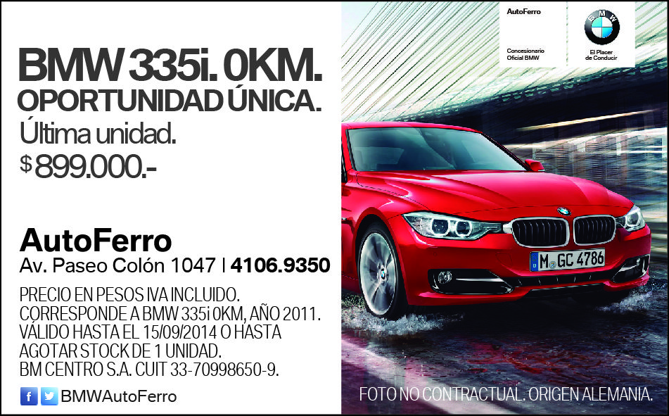 Este es nuestro aviso publicado en Ambito Financiero #BMW Serie 3 335i. OPORTUNIDAD ÚNICA. Te esperamos en AutoFerro Av Paseo Colón 1047