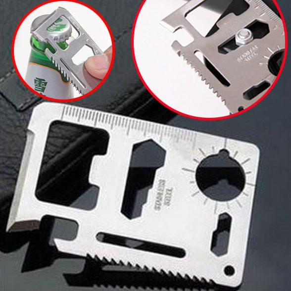 11 in 1 Credit Card Size Multi Tool  As the name indicate, this is a small and lightweight tool with many benefits. You absolute have space for this tool in your backpack. Made in high quality stainless steel and delivered with a waterproof case. 11 functions that will help you both in every day life and out in the nature. A great survival,  backpacking and every day carry tool.