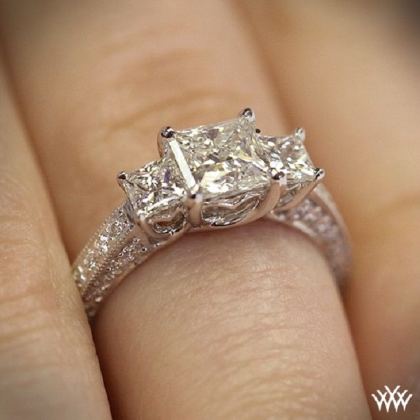 3 Stone Engagement Ring for Princess Cut Diamonds #engagementrings