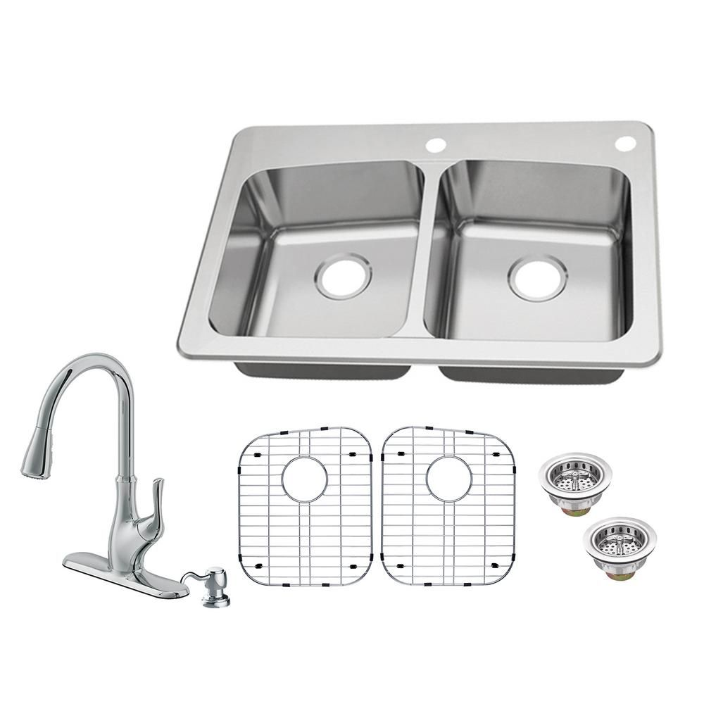 Glacier Bay All In One Dual Mount 18 Gauge Stainless Steel 33 In